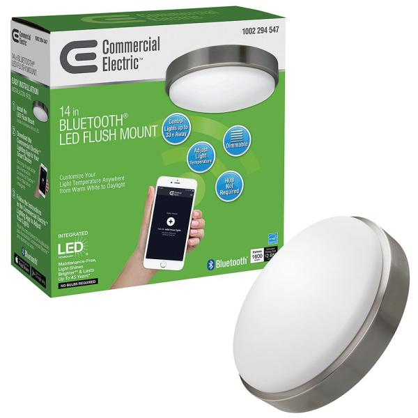 Commercial Electric 14 in. Brushed Nickel Base Bluetooth Wi-Fi Smart Selectable LED Flush Mount Light Frosted Glass Lens Dimmable 3 CCTs