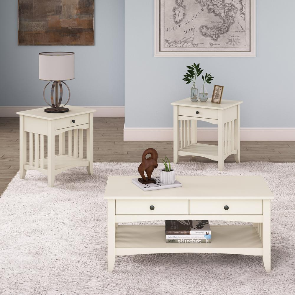 Crestway 3-Piece Antique White Coffee Table and End Tables Set with