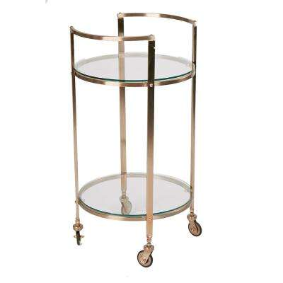 2 Tier Metal Wheeled Bar Cart in Clear