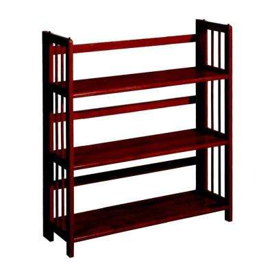3-Shelf Folding Bookcase in Mahogany