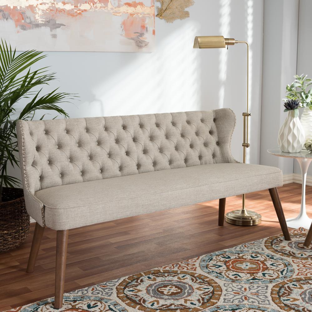 Scarlett Mid-Century Beige Fabric Upholstered Sofa