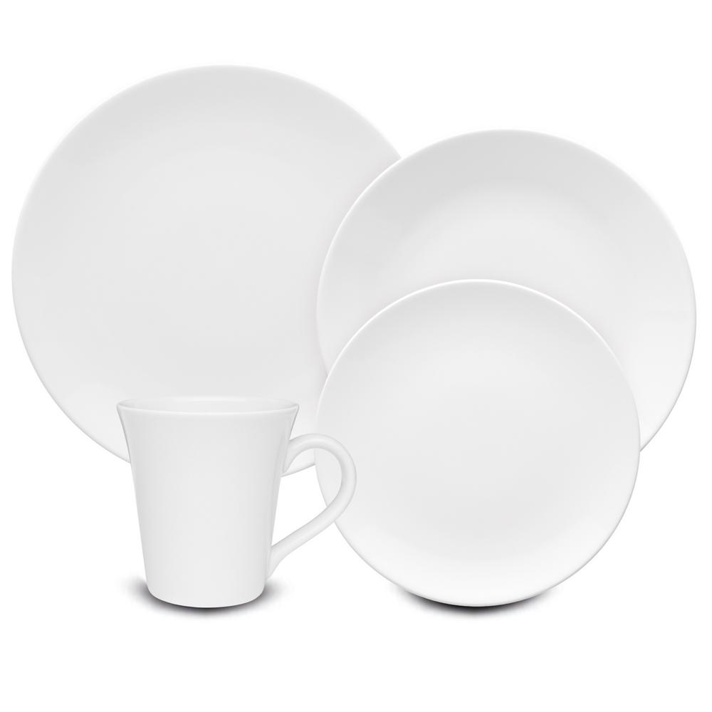Coup White 16-Piece Casual White Porcelain Dinnerware Set (Service for 4)