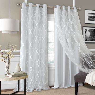 Elrene Bethany Blackout with Sheer Overlay Single Window Panel in Fog - 52 in. W x 95 in. L