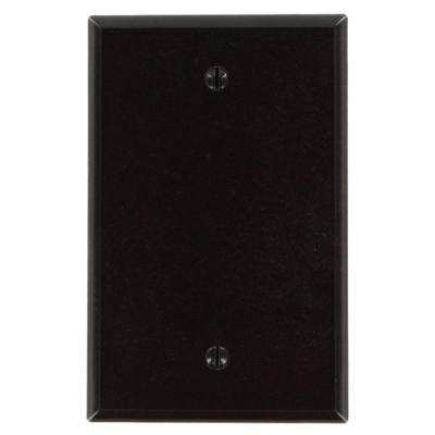1-Gang No Device Blank Wallplate, Midway Size, Thermoset, Box Mount, Brown