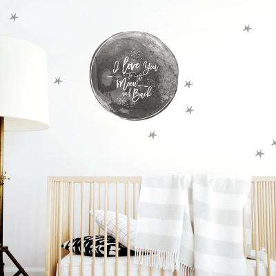 Black To the Moon and Back Wall Decal