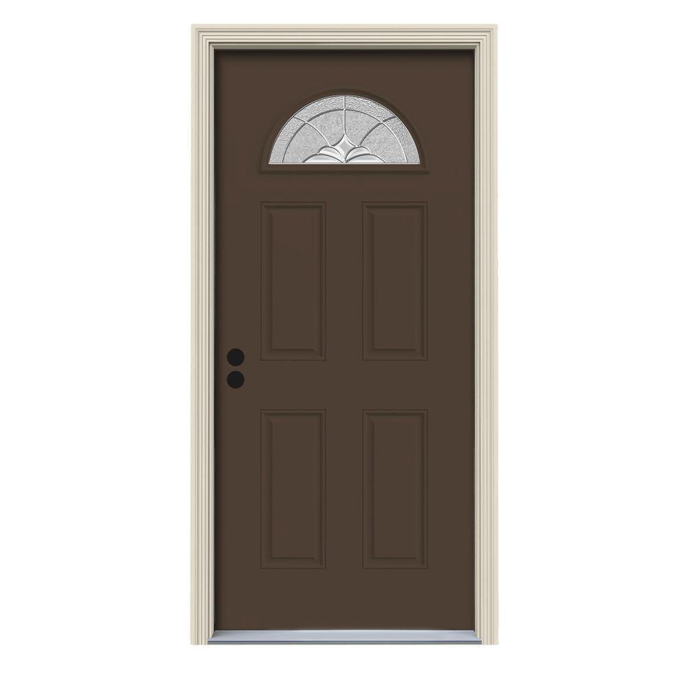 36 in. x 80 in. Fan Lite Langford Dark Chocolate Painted Steel Prehung Right-Hand Inswing Front Door w/Brickmould