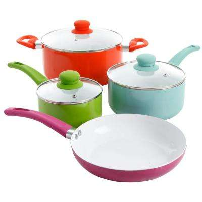 Benni 7-Piece Assorted Multicolored Aluminum Cookware Set with Lids