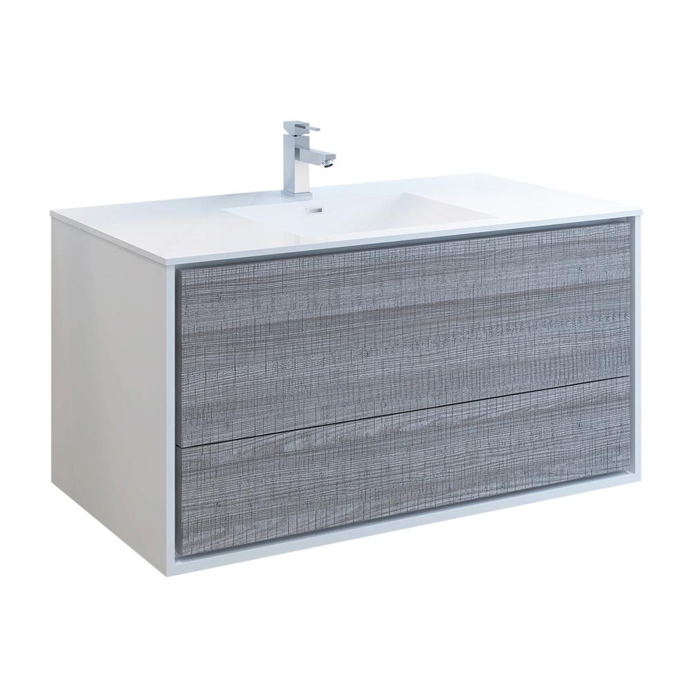 Fresca Catania 48 in. Modern Wall Hung Bath Vanity in Glossy Ash Gray with Vanity Top in White with White Basin