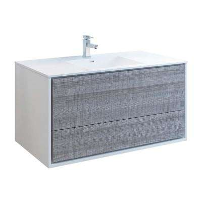 Catania 48 in. Modern Wall Hung Bath Vanity in Glossy Ash Gray with Vanity Top in White with White Basin