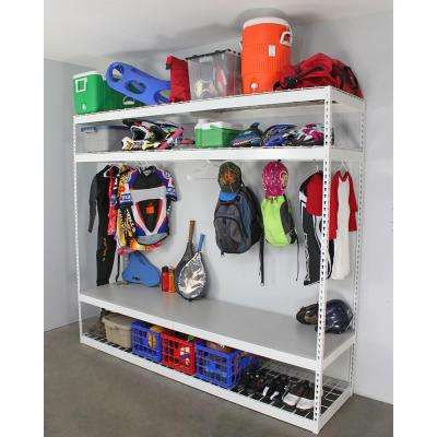 24 in. D x 96 in. H x 84 in. W 4-Shelf Freestanding Adjustable Sports Equipment Storage Rack