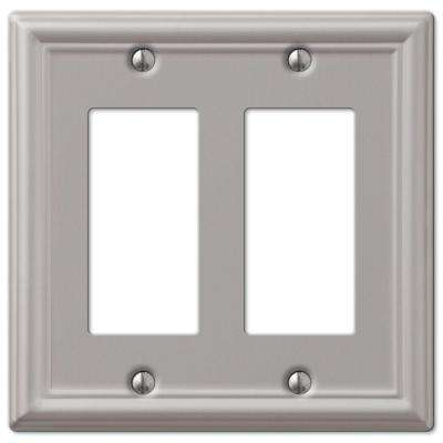 Ascher 2 Gang Rocker Steel Wall Plate - Brushed Nickel