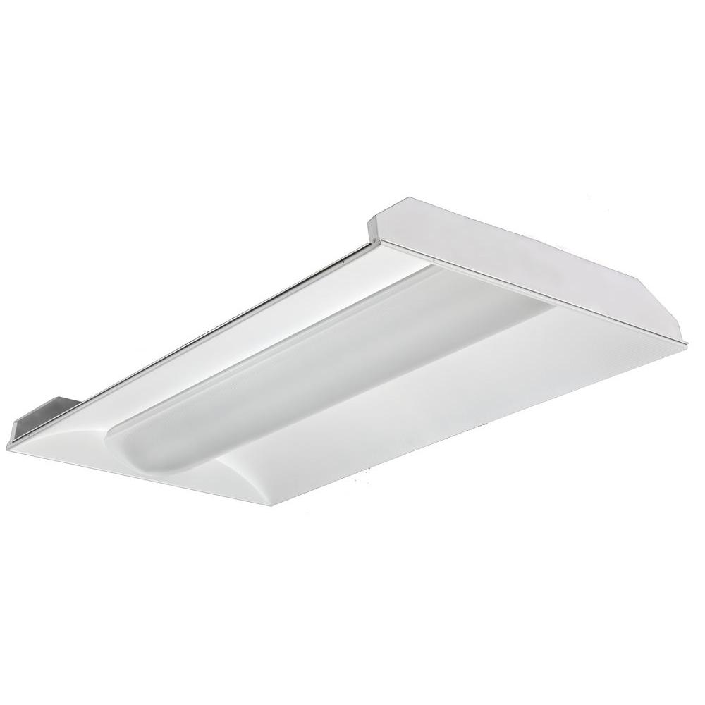 Lithonia Lighting 2 ft. x 4 ft. 2-Light White Volumetric T8 ...
