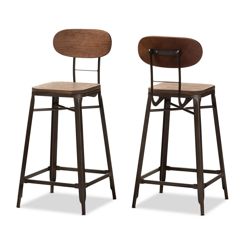 Baxton Studio Varek 32 in. Oak Brown and Rust Bar Stool (Set of 2)
