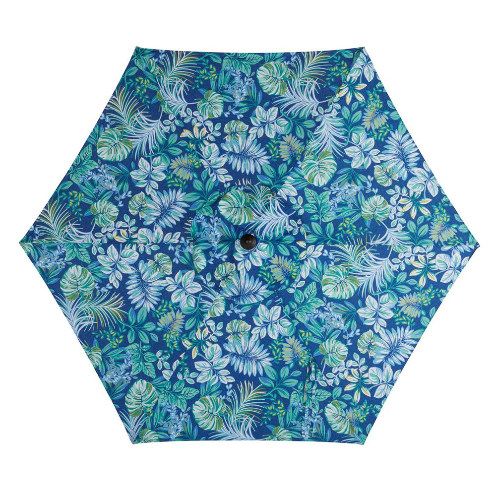 Hampton Bay 7.5 ft. Steel Market Patio Umbrella in Tropical Palm Mariner