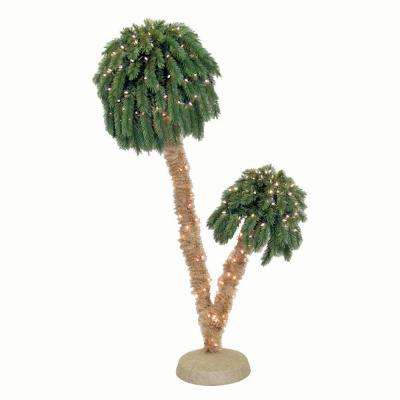 6 ft. Pre-Lit Double Palm Artificial Christmas Trees with Clear Lights