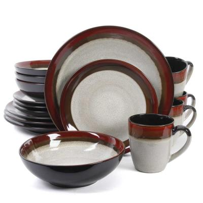 Couture Bands 16-Piece Cream Dinnerware Set with Red Trim