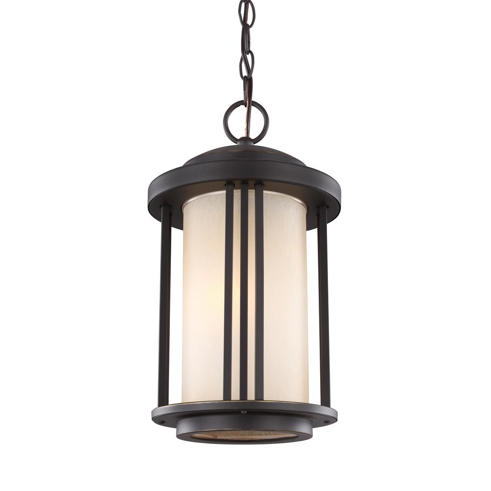Crowell Antique Bronze 1-Light Outdoor Hanging Pendant with LED Bulb