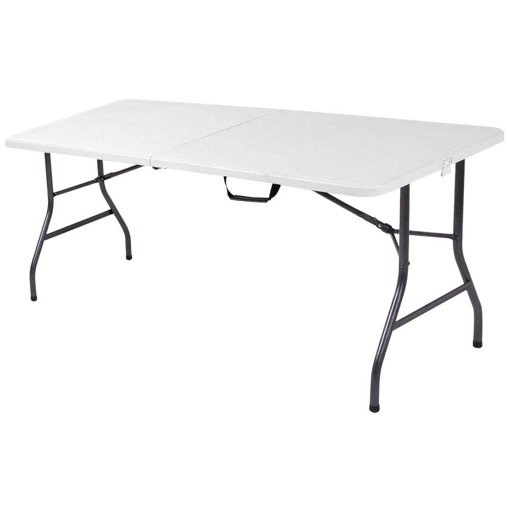 Cosco 72 in. White Speckle Plastic Fold-in-Half Folding Banquet Table