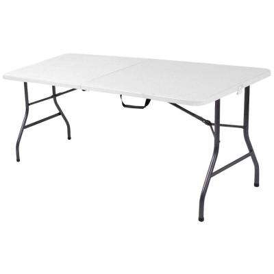 72 in. White Speckle Plastic Fold-in-Half Folding Banquet Table