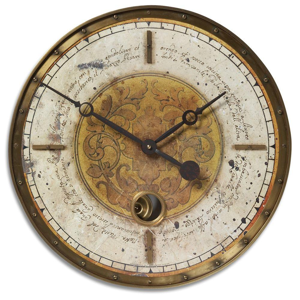 Global Direct Script Cream Round Wall clock-DISCONTINUED