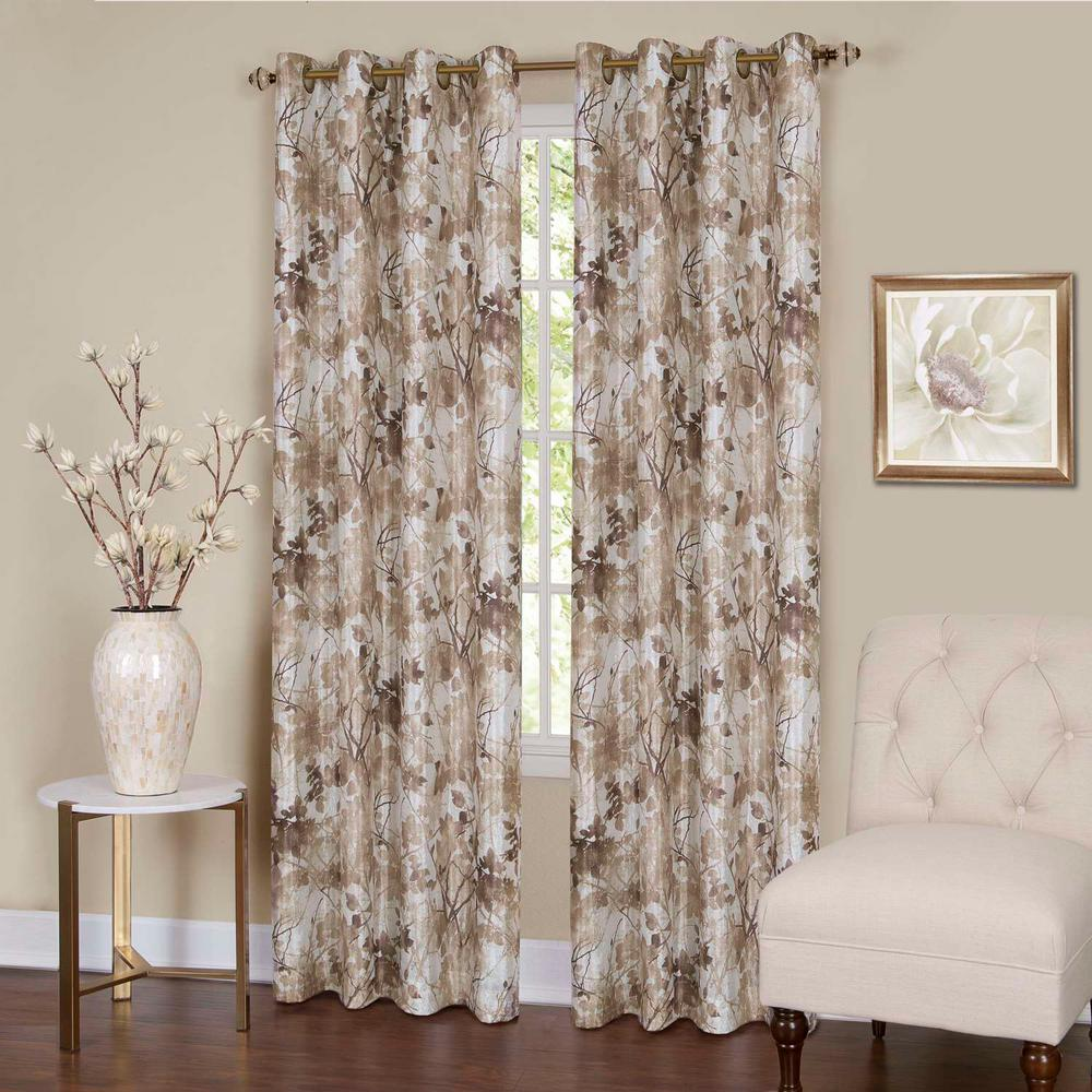 Tranquil Tan Lined Grommet Window Curtain Panel 50 In W X 84 L