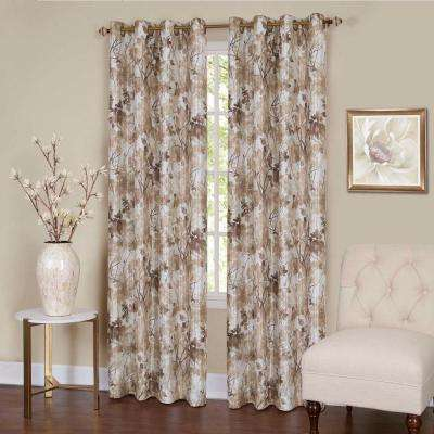 Sheer Tranquil Tan Lined Grommet Window Curtain Panel - 50 in. W x 84 in. L