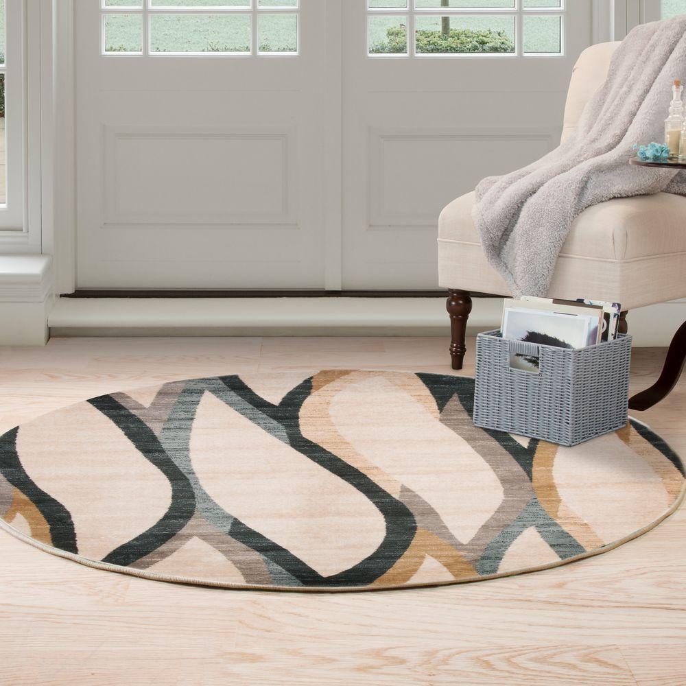 Opus Contemporary Curves Cream 5 ft. x 5 ft. Round Area Rug