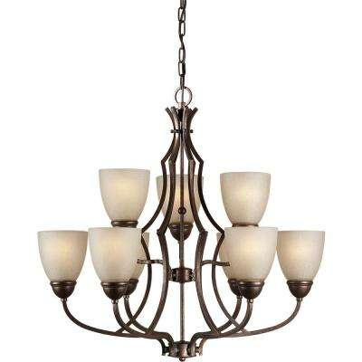 9-Light Black Cherry Bronze Chandelier with Umber Linen Glass