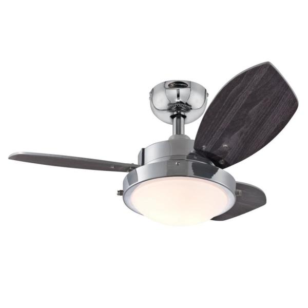 Wengue 30 in. Integrated LED Chrome Ceiling Fan with Light Kit
