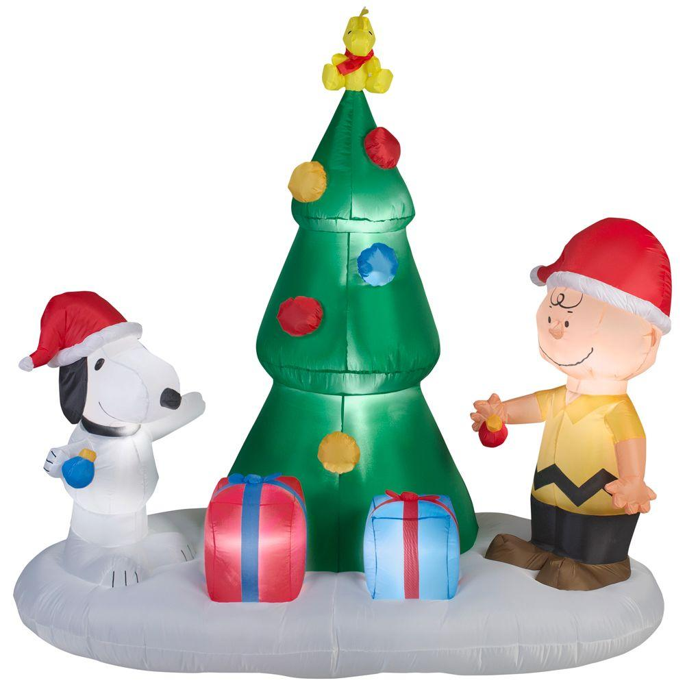 Lighted Inflatable Snoopy and Charlie Brown with