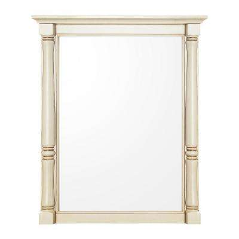 Albertine 30 in. L x 24 in. W Framed Wall Mirror in Creamy White
