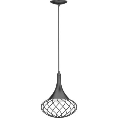1-Light Integrated LED Indoor Black Hanging Mini Pendant with White Acrylic Lens and Oval Caged / Wire Sphere