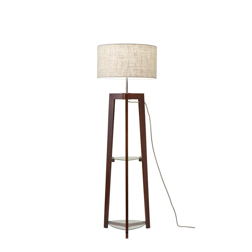 60 in. Walnut Shelf Floor Lamp