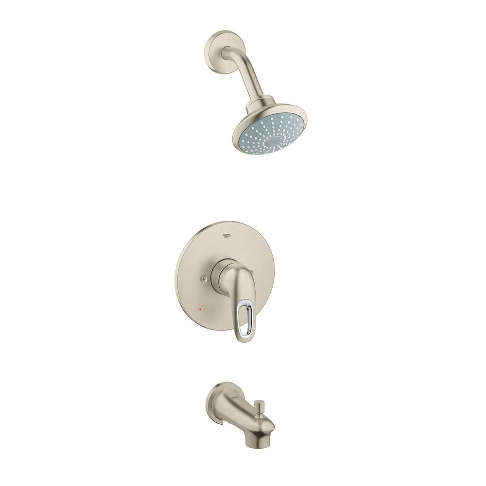 Eurostyle Single-Handle Tub and Shower Faucet Trim Kit in Brushed Nickel