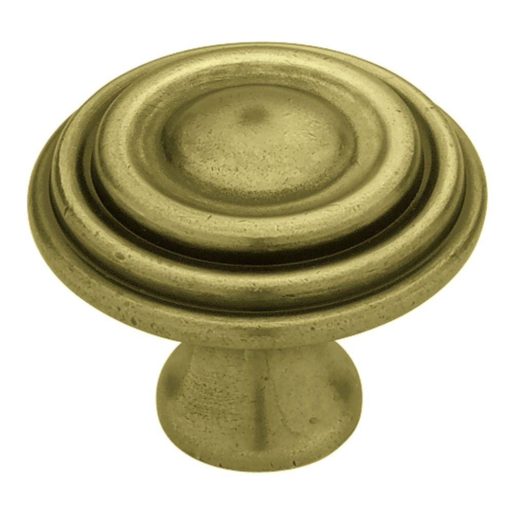 Circles & Scrolls 1-1/2 in. Tumbled Antique Brass Ringed Cabinet Knob
