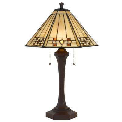 26 in. Matte Black Metal Table Lamp with Tiffany Glass Shade