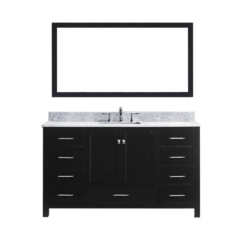 Virtu USA Caroline Avenue 60 in. W Bath Vanity in Espresso with Marble Vanity Top in White with Square Basin and Mirror
