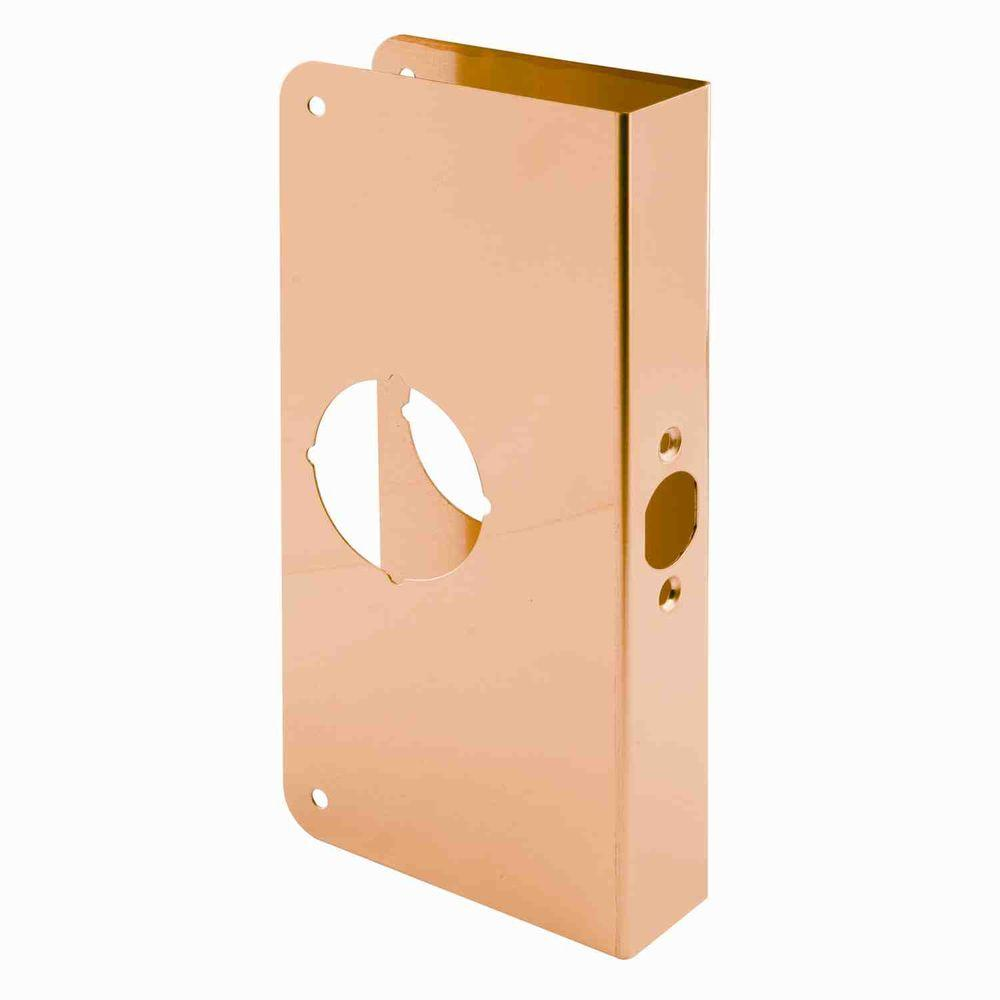 Prime-Line 1-3/8 in. Thick x 9 in. Solid Brass Lock and Door Reinforcer, 2-1/8 in. Single Bore, 2-3/8 in. Backset