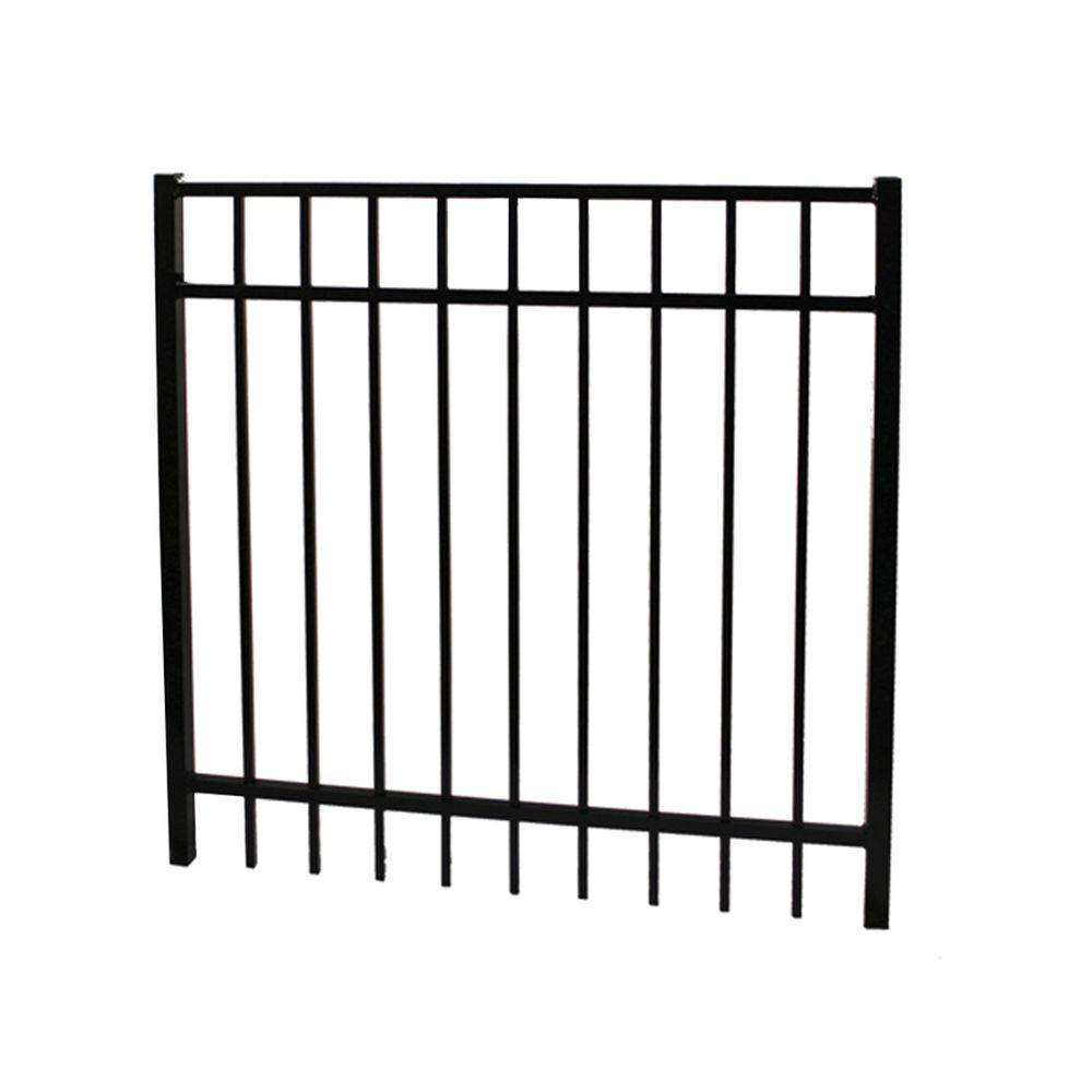Vinnings 4 ft. W x 5 ft. H Black Aluminum Fence
