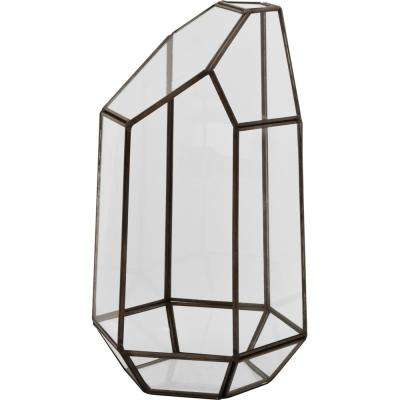 Mika 4.5 in. W x 9 in. H Black Faceted Glass Crystal Terrarium