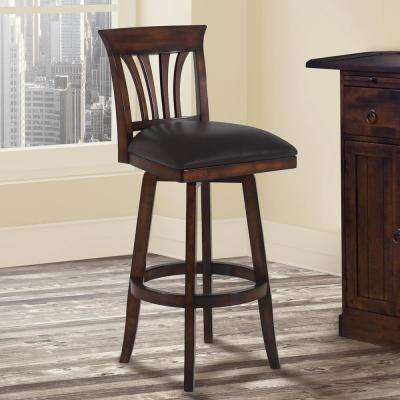 Madison 30 in. Brown Faux Leather and Pecan Wood Finish Swivel Barstool