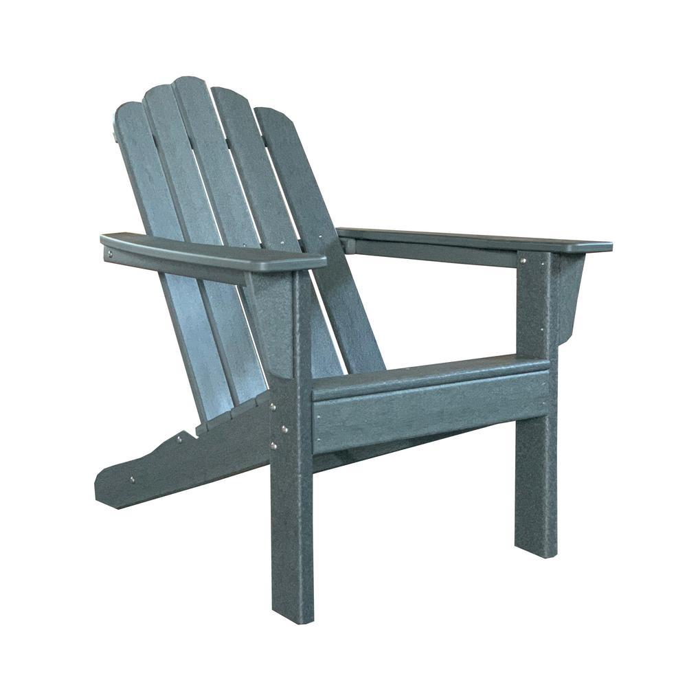 Marina Gray Poly Plastic Outdoor Patio Adirondack Chair