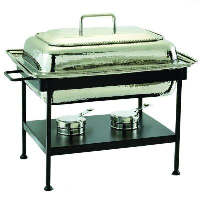 23 in. x 13 in. x 19 in. Rectangular Polished Nickel over Stainless Steel Chafing Dish