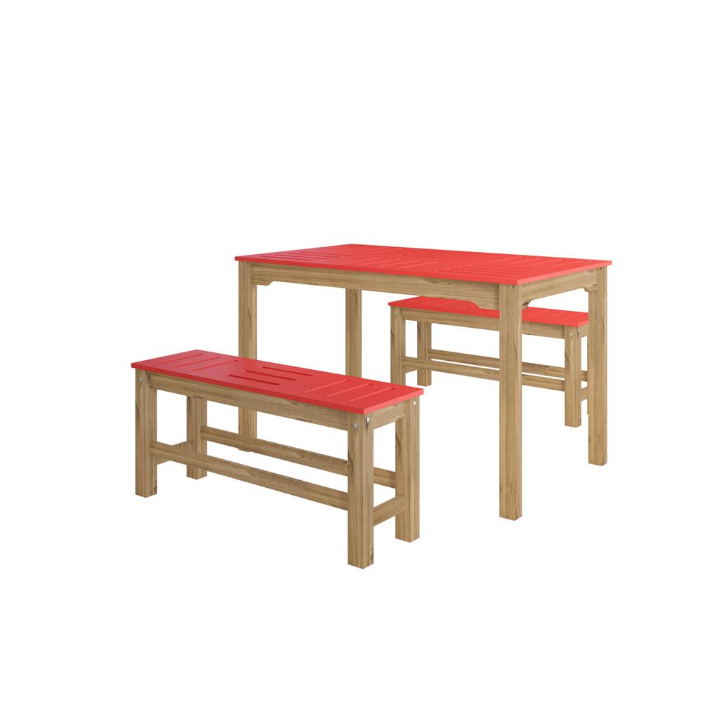 Manhattan Comfort Stillwell 47 25 In 3 Piece Red And Natural Wood Rectangle Dining Set