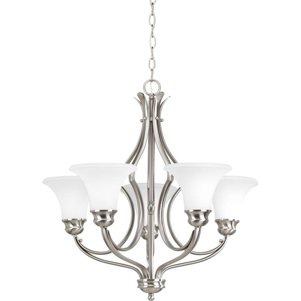 Applause Collection 5-Light Brushed Nickel Chandelier with Shade with Etched