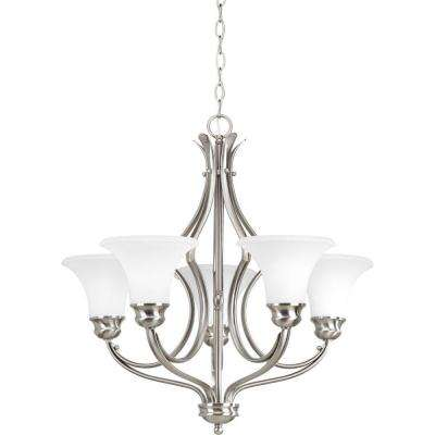 Applause Collection 5-Light Brushed Nickel Chandelier with Etched Parchment Glass Shade