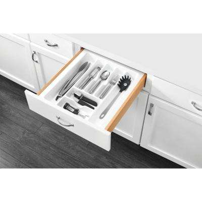 2.375 in. H x 17.5 in. W x 21.25 in. D Large White Cutlery Tray Drawer Insert