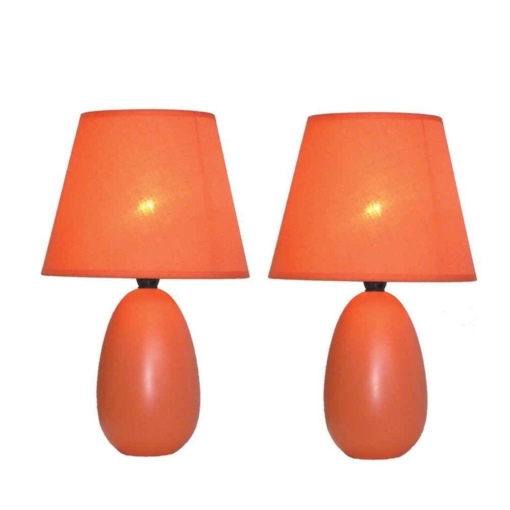 9.45 in. Orange Mini Egg Oval Ceramic Table Lamp (2-Pack)
