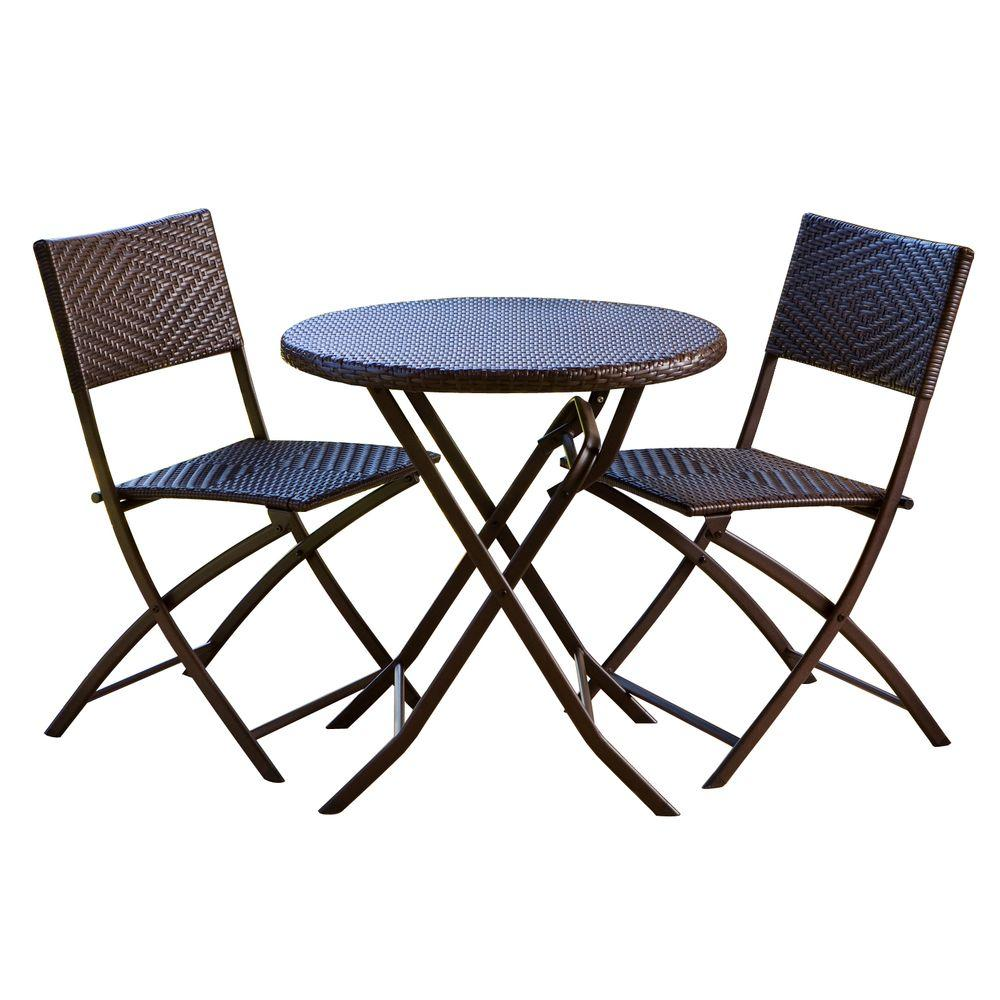 folding outdoor dining set dining room rst brands 3piece patio bistro set setoppebs3 the home depot