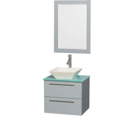 Amare 24 in. W x 19.5 in. D Vanity in Dove Gray with Glass Vanity Top in Green with Bone Basin and 24 in. Mirror